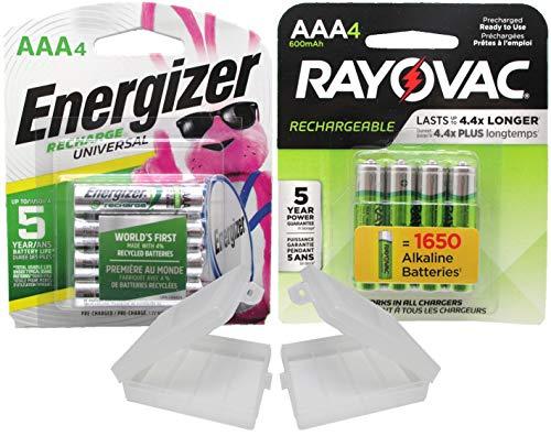 Combo Deal!!!! 4 Rayovac Rechargeable 600mAh NiMH AAA Batteries and 4 Energizer Universal 700mAh NiMH AAA Rechargeable Batteries with Battery Holders