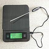 ACHICOO - Báscula electrónica multifunción de acero inoxidable para cocina, café, termómetro de sincronización de peso, 2 kg/0,1 g