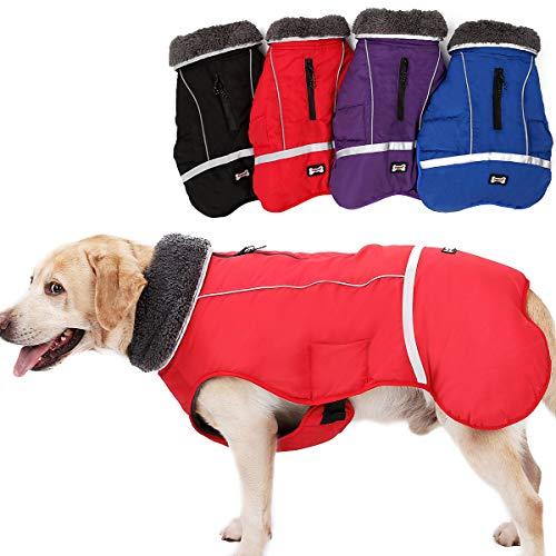 Komate Impermeable Chaqueta de Perro Abrigo de Invierno Chaqueta Cachorro Reflectante de Seguridad Pequeño Mediano Perros Grandes Traje a Prueba de Viento (XXL (Cofre de 72 a 100 cm), Rojo)