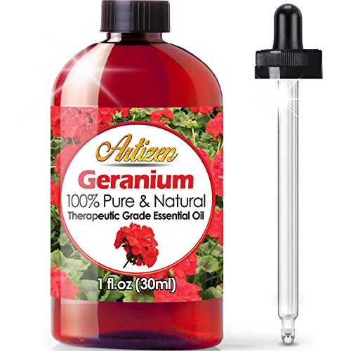 Artizen Geranium Essential Oil (100% Pure & Natural - Undiluted) Therapeutic Grade - Huge 1oz Bottle - Perfect for Aromatherapy, Relaxation, Skin Therapy & More!