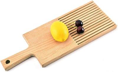 LIRIDP フードプラッター ハンドル付きブレッドカッティングボード、ブナウッドチーズまな板パン粉用溝付きピザボード、整頓されたキッチン、木製用 トレイ・盆