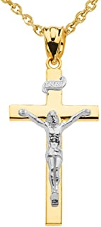 Solid 14k Two-Tone Gold Linear Cross INRI Crucifix Pendant Necklace