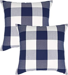 NAVIBULE 18 x 18In Farmhouse Decorative Square Throw Pillow Covers Buffalo Check Plaid Cushion Cases Pack of 2 for Home Decor Navy Blue and White