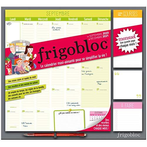 Frigobloc 2021 Mensuel - Calendrier dorganisation familiale par mois (de sept 2020 à décembre 2021)