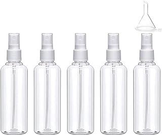 Weforu 5Pcs Spray Bottle 100ml Plastic Fine Mist Travel Atomiser Set, Mini Travel Bottles Toiletries Liquid Containers for Cosmetic Make-up