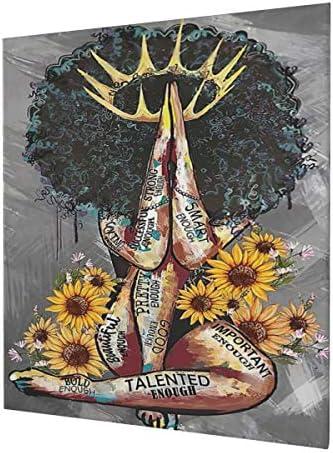Ulyris African American Wall Art Sunflower Queen Black Girl Abstract Art Modern Decorative Artwork product image