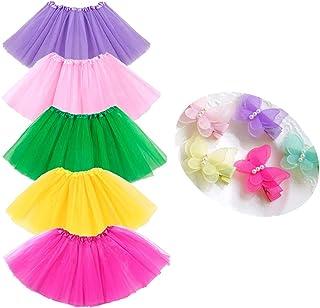 BGFKS 5 Pack Tutu Skirt for Girls 3 Layers Ballet Dressing Up Kid Tutu Skirt