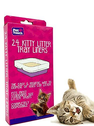Pet Touch 24 Kitty Katzenklo Einlagen | Katzentoiletten-Einlagen | passend für die meisten Katzenklo | Einweg- und hygienische Katzenstreu-Einlagen (1 Box (24 Einlagen)