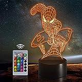 Lámpara de ilusión óptica LED Luz de noche 3D In Battle Spiderman, Lámpara...