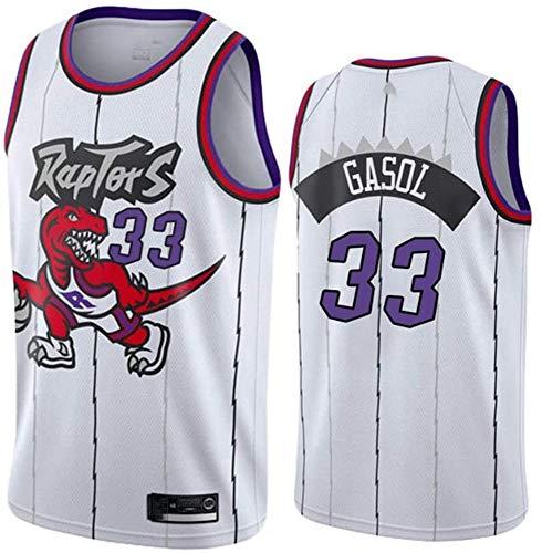 BXWA-Sports Camiseta de Baloncesto Masculino, Raptors de la NBA # 33 Marc Gasol Baloncesto Ropa cómoda/Malla/Enfriar Bordado Baloncesto Retro sin Mangas Jerseys,M(170~175CM/65~75KG)