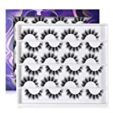 ALICROWN Natural Faux Mink Eyelashes, 15mm 3D Soft Flase Lashes Reusable Handmade Lashes Pack 12 Pairs