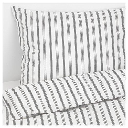 IKEA Bettwäsche Garnitur HÖSTÖGA grau-weiß gestreift in 3 Größen (140 x 200 cm)