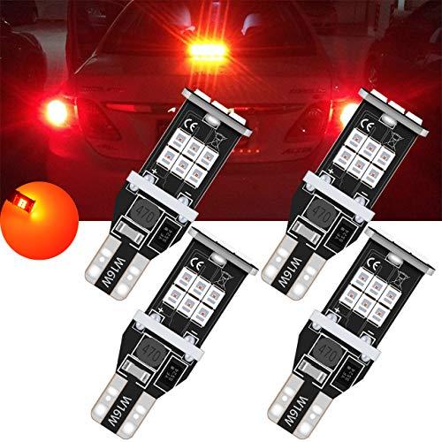 TUINCYN T15 912 921 Ampoules de recul inversées à LED, Rouge, CANBUS, Rouge, sans Erreur, W16W 906 2835 Lampe de recul, 2835 Ampoule à Del de 15SMD (Lot de 4)
