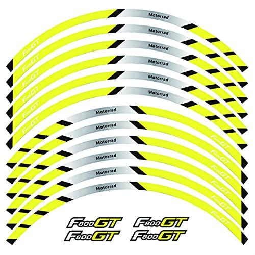 Ruedas Delanteras y traseras de la Motocicleta Etiqueta de rontación Exterior de Borde Etiqueta de Raya Reflectante Calcomanías de la Rueda para BMW F800GT (Color : A Yellow)