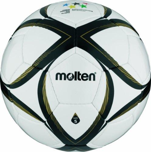 Molten - Balón de fútbol, color blanco/negro/dorado, talla 5