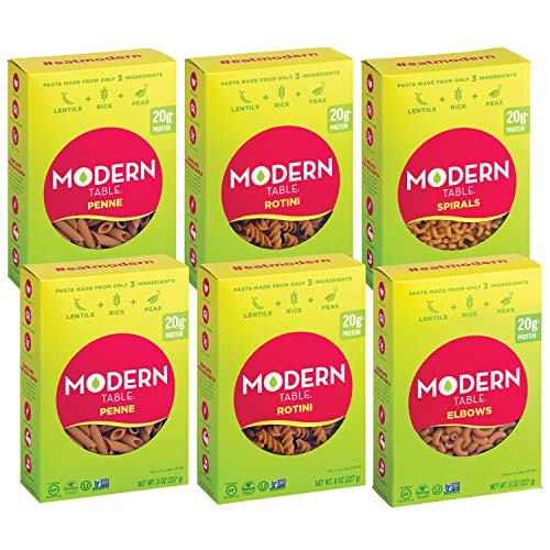 Modern Table Complete Protein Lentil Pasta, Variety Pack, Contains (2) Rotini, (2) Penne, (1) Elbows, (1) Spirals, 8oz, 6 Count, Gluten Free, No Artificial Preservatives