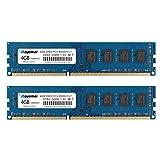 ROYEMAI 8GB Kit (2X4GB) DDR3 RAM, DDR3 1066 PC3-8500U 4GB DDR3 2Rx8 240-pin Dimm CL7 1.5V Desktop RAM Memory Module