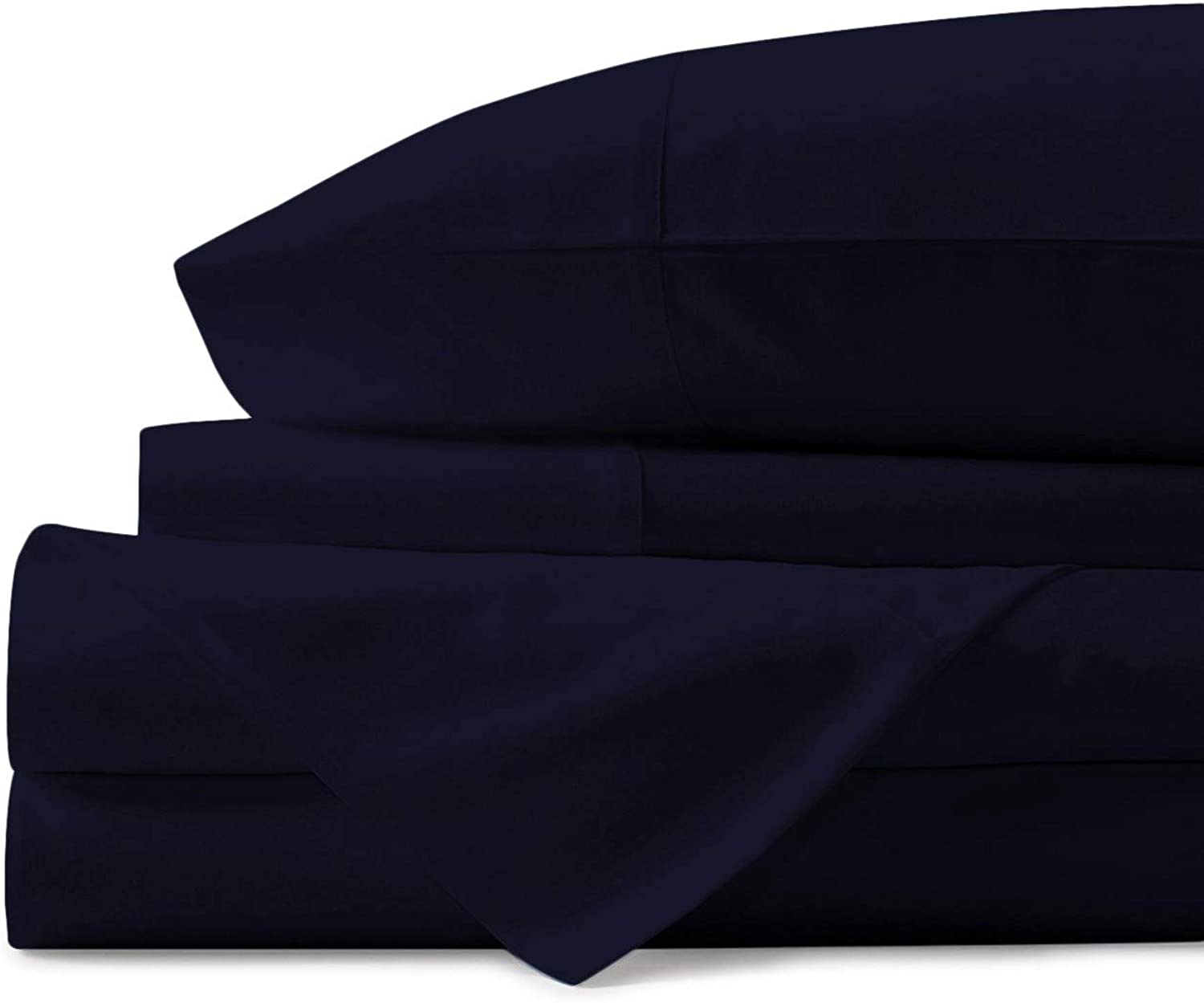 Mayfair Linen 100% Egyptian Cotton Sheets, Navy bluee Full Sheets Set, 600 Thread Count Long Staple Cotton, Sateen Weave for Soft and Silky Feel, Fits Mattress Upto 18'' DEEP Pocket