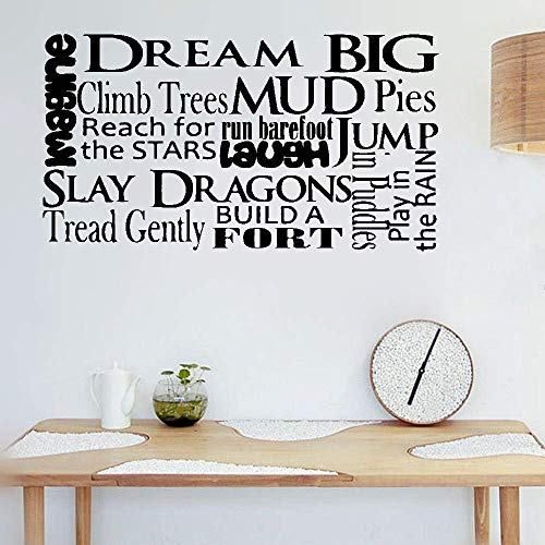 stickers muraux pour chambre bébé Wall Art Sticker dream big climb trees mud pies reach for run barefoot jump for the stars for living room bedroom home decor