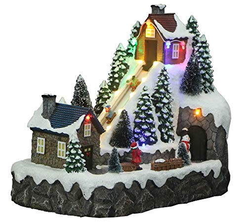 Christmas Village Sledding Down Hill Animated Pre-Lit Musical Sleigh Ride Perfect Addition to Your Christmas Indoor Decorations & Snow Village Displays