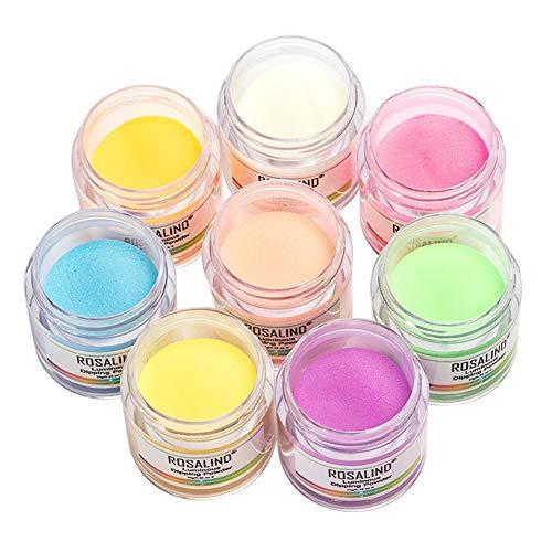 wonderday 8PCS Kit de démarrage pour poudre à ongles,dip nail powder kit,Kit de acrylique Poudre,Dipping Dip Powder,Pigment de fluorescence nocturne Ensemble d'art pour ongles Glow Powder