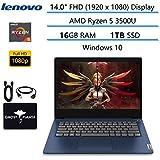 "2020 Newest Lenovo IdeaPad 14"" FHD Business Laptop Computer, AMD Ryzen 5 3500U(Beat i7-8550U), AMD Radeon Vega 8, HDMI Bluetooth, Windows 10 w/Ghost Manta Accessories (16GB RAM | 1TB SSD)"
