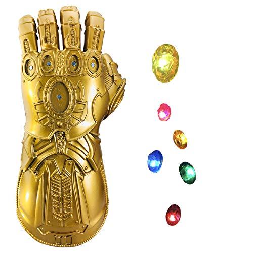 Infinity Gauntlet, Infinity War PVC-Handschuhe mit 6 trennbaren LED-Steinen-3 Flash-Modus Abnehmbare Steine Goldener Handschuh für Halloween Party Prop
