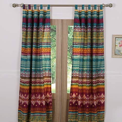 Greenland Home Southwest Curtain Panel Pair, 84 x 84 inches, Siesta