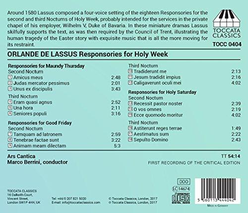 Orlande de Lassus: Responsories For Holy Week [Ars Cantica; Marco Berrini] [Toccata Classics: TOCC 0404]
