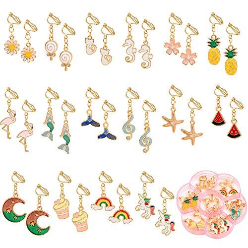 vamei 16 Paia Orecchini a Clip Vestire Accessori Gioielli Principessa per Bambine Bambini Toddler Bomboniere Regalo per Compleanni