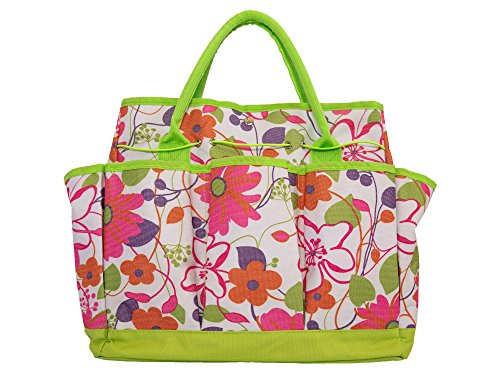 Garden Tool Bag with Pockets - Green Floral