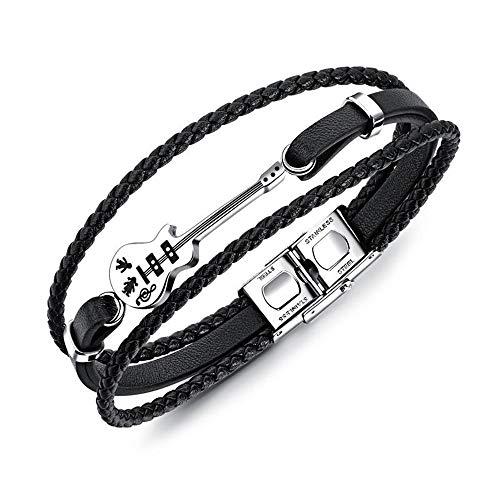 RAILONCH Kreative Mini-Gitarre kleine Accessoires Lederarmband Retro-Multi-Layer-Gewebe Armband schwarz Titan Stahl Seil Zubehör