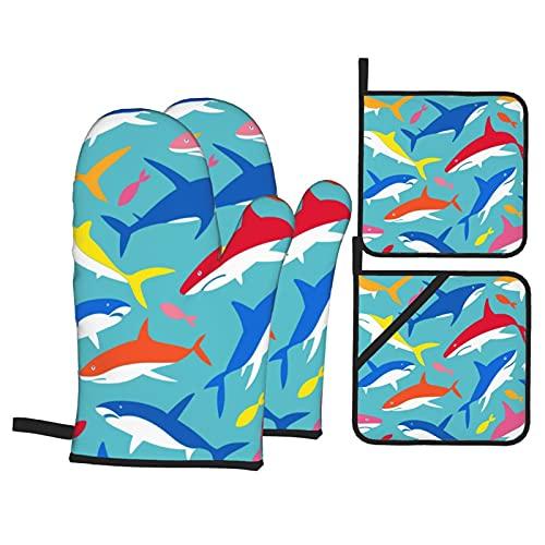 Siluetas de Peces de mar bajo el Agua en Azul,Juegos de Manoplas para Horno y Porta Ollas,4Pcs Impermeable Guantes Almohadillas para Cocina Cocinar Hornear Barbacoa