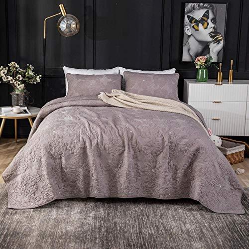 Rubyurphy Juego de colcha de cama, 100% algodón, colcha fina de retazos de verano, cama doble de 3 piezas, sábana de cama, sofá, manta de salón de 231 x 248 cm