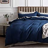 Bedsure 100% Cotton Waffle Weave Duvet Cover Set King Size, 3 Pieces Luxury Comforter Cover, Solid Color Soft and Breathable Bedding Sets for All Seasons, Navy Blue