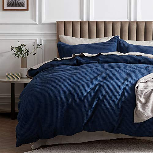 Bedsure 100% Cotton Waffle Weave Duvet Cover Set King Size, 3 Pieces Luxury Comforter Cover, Solid Color Soft and Breathable Bedding Sets for All Seasons, Navy