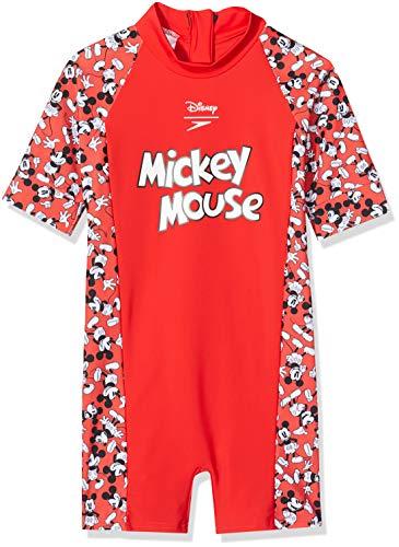 Speedo Kinder Disney Mickey Mouse Unisex Einteiliger Badeanzug, Risk Rot/Schwarz/Weiß, 1 Jahre