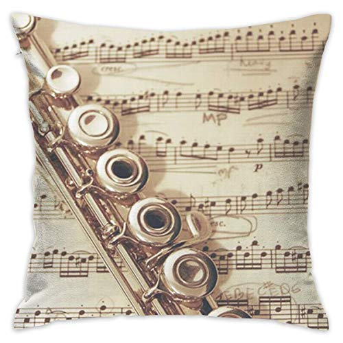 N/C Decorative Sofa Home Decor Flute Music Design Throw Pillow Case Cushion Cover Square 18 x 18 Inch/45 x 45cm