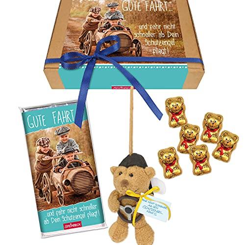 STEINBECK Geschenkbox Führerschein bestanden Geschenk Geschenkset Schutzengel Plüsch Bär Mitbringsel Schokolade Süßes 18 Geburtstag Reise Auto fahren für unterwegs