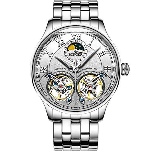 FAPROL-BINGER Uhr, Mechanische Kernarmbanduhr Der Reifen Männer, Mondphasenanzeige Eigenschaften, Hohles Schwungradvorwahlknopf White