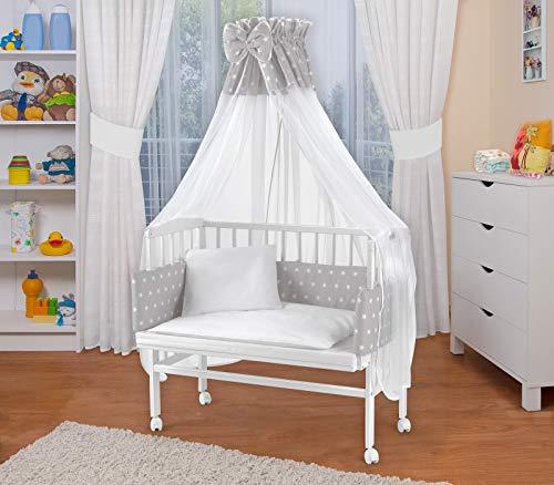 WALDIN Baby Beistellbett mit Matratze und Nestchen, höhen-verstellbar, Holz natur oder weiß lackiert, 16 Modelle wählbar (Weiß lackiert, grau/weiß Sterne)