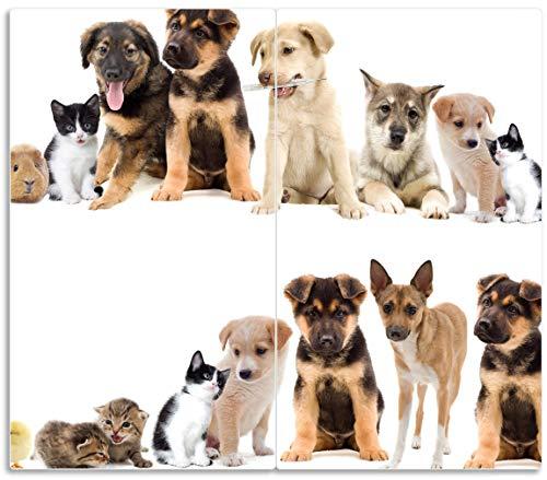 Herdabdeckplatte / Spritzschutz aus Glas, 2-teilig, 60x52cm, für Ceran- und Induktionsherde, Süße Haustiere - Katzen, Hunde, Hamster, Küken