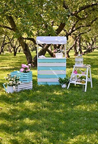 Fondos de Primavera Flor Verde Hierba árbol Cortina Boda cumpleaños Fiesta Fondos fotográficos escénicos para Estudio fotográfico A7 10x10ft / 3x3m