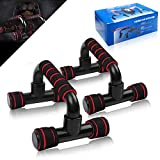 Flexiones,Push Up Bars,Flexiones Push up,Flexiones Pared,Manijas Soporte para Flexiones,Push up Bars de Brazo Entrenamiento,Rodilla Mat para Entrenamiento en Casa Ejercicios Fitness(Rojo Negro)