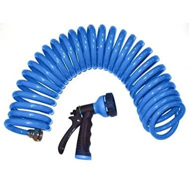 Orbit 27890 25-Foot Coil Hosewith Nozzle, Blue