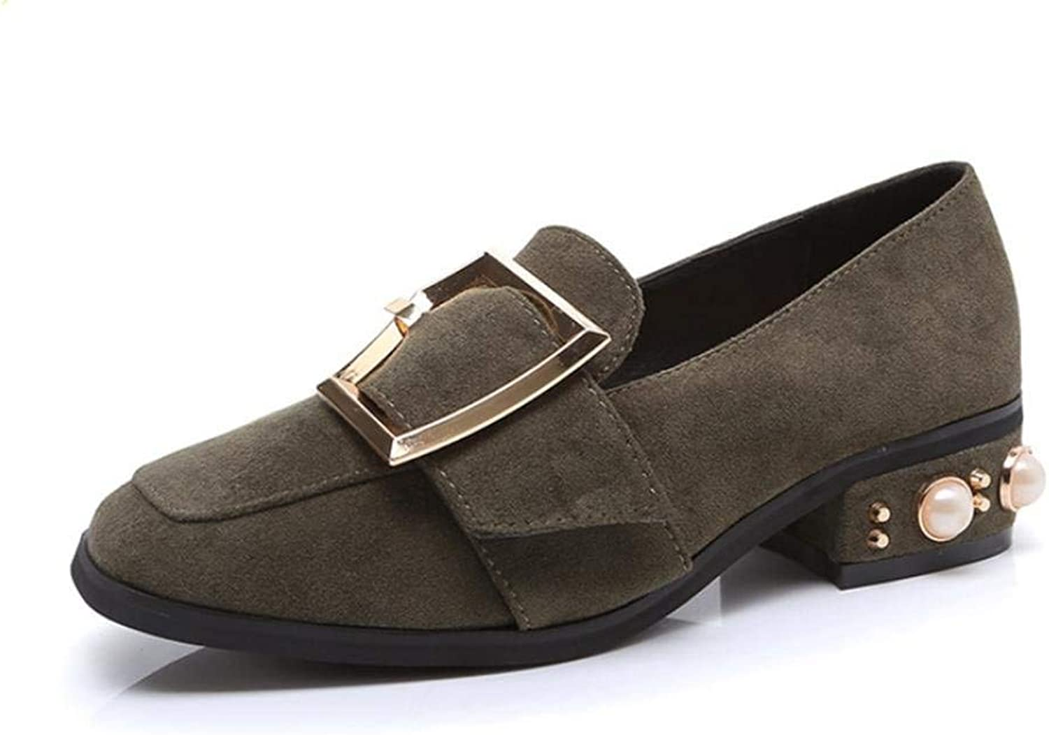 Lady Classic Square Head with a Single shoes Female Metal Buckle Pearl Low Heels Fashion Leisure Cosy Wild Casual Quality Super Elegant for Womens Mid Heel