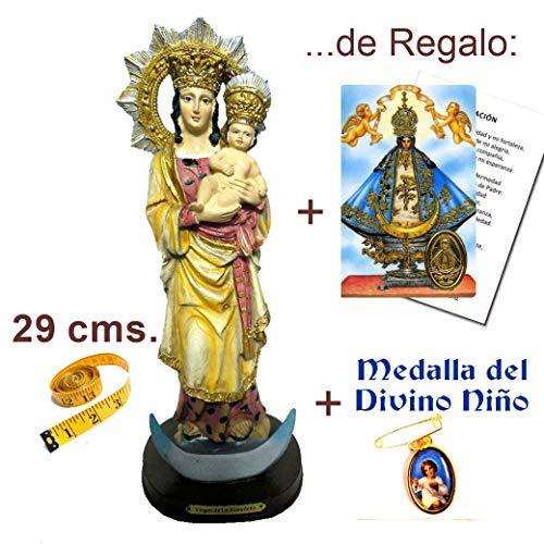 Figura Virgen de la Almudena 29 cms. en Resina, Pintada a Mano + Estampa + Medalla