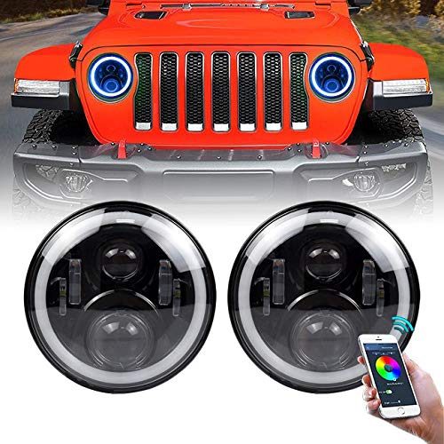 "ICBEAMER 7"" RGB LED Headlights Bulb Halo Angel Eye DOT Approved Phone APP Bluetooth Control for 1997-2018 Jeep Wrangler"