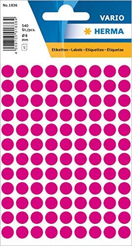 HERMA 1836 Vielzweck-Etiketten / Farbpunkte rund (Ø 8 mm, 5 Blatt, Papier, matt) selbstklebend, permanent haftende Markierungspunkte zur Handbeschriftung, 540 Klebepunkte, pink