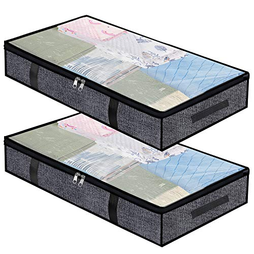Underbed Storage Bag Organizer 2 Pack Large Capacity Clothes Storage Container Box with 4 Handles and 2 Zippers Foldable Storage Bags with Clear Window f Black
